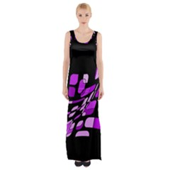 Purple Decorative Abstraction Maxi Thigh Split Dress by Valentinaart