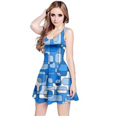 Blue Decorative Abstraction Reversible Sleeveless Dress by Valentinaart