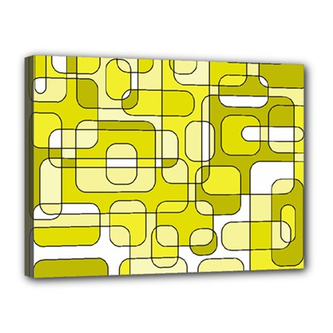 Yellow Decorative Abstraction Canvas 16  X 12  by Valentinaart