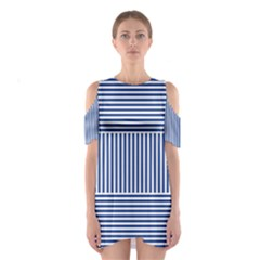 Nautical Striped Cutout Shoulder Dress by olgart