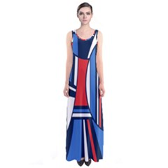 Abstract Nautical Sleeveless Maxi Dress by olgart