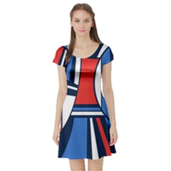 Abstract Nautical Short Sleeve Skater Dress by olgart