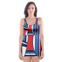 Abstract Nautical Skater Dress Swimsuit by olgart