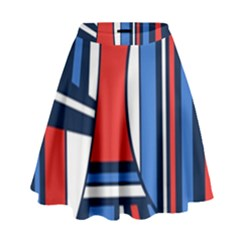 Abstract nautical High Waist Skirt by olgart