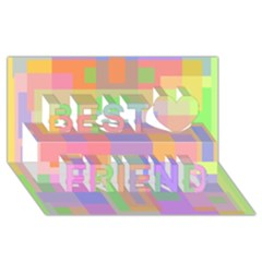 Pastel Decorative Design Best Friends 3d Greeting Card (8x4)  by Valentinaart