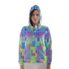 Pastel geometrical desing Hooded Wind Breaker (Women) by Valentinaart