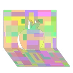 Pastel Colorful Design Apple 3d Greeting Card (7x5)  by Valentinaart