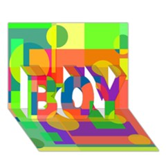 Colorful Geometrical Design Boy 3d Greeting Card (7x5) by Valentinaart