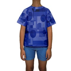 Deep Blue Abstract Design Kid s Short Sleeve Swimwear by Valentinaart