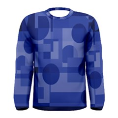 Deep Blue Abstract Design Men s Long Sleeve Tee by Valentinaart