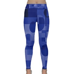 Deep blue abstract design Yoga Leggings by Valentinaart