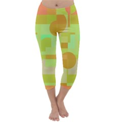 Green And Orange Decorative Design Capri Winter Leggings  by Valentinaart