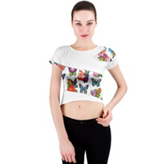 Beautiful Butterflies 1 Pattern Round Hem Cropped Tee Crew Neck Crop Top by PKHarrisPlace