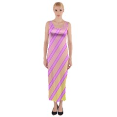 Pink and yellow elegant design Fitted Maxi Dress