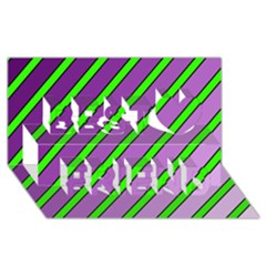 Purple and green lines Best Friends 3D Greeting Card (8x4)  by Valentinaart
