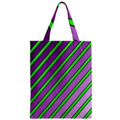 Purple And Green Lines Zipper Classic Tote Bag by Valentinaart