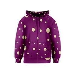 Purple And Yellow Bubbles Kids  Zipper Hoodie by Valentinaart