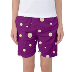 Purple And Yellow Bubbles Women s Basketball Shorts by Valentinaart