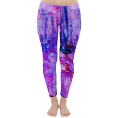 Purple Alcohol Ink Abstract Winter Leggings  by KirstenStar