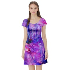 Purple Alcohol Ink Abstract Short Sleeve Skater Dress by KirstenStar