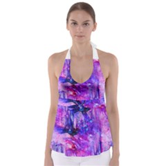 Purple Alcohol Ink Abstract Babydoll Tankini Top by KirstenStar
