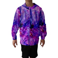 Purple Alcohol Ink Abstract Hooded Wind Breaker (Kids) by KirstenStar