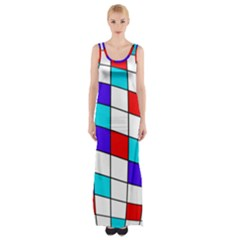 Colorful Cubes  Maxi Thigh Split Dress by Valentinaart