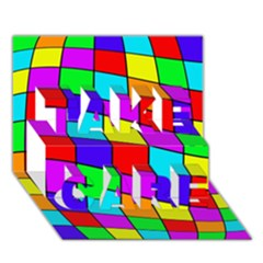 Colorful Cubes Take Care 3d Greeting Card (7x5)  by Valentinaart