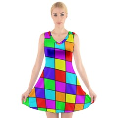 Colorful cubes V-Neck Sleeveless Skater Dress