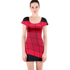 Red Abstraction Short Sleeve Bodycon Dress by Valentinaart