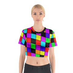 Colorful cubes  Cotton Crop Top by Valentinaart