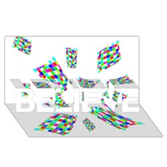 Colorful abstraction BELIEVE 3D Greeting Card (8x4)  by Valentinaart