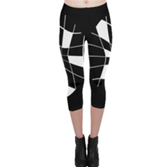 Black And White Abstract Flower Capri Leggings  by Valentinaart