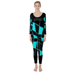 Blue Abstract Flower Long Sleeve Catsuit by Valentinaart