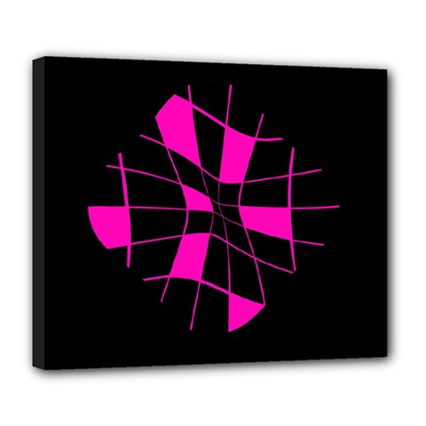 Pink Abstract Flower Deluxe Canvas 24  X 20   by Valentinaart