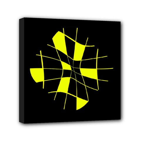 Yellow Abstract Flower Mini Canvas 6  X 6  by Valentinaart