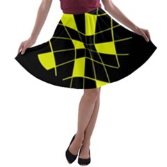 Yellow Abstract Flower A Line Skater Skirt by Valentinaart