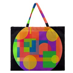 Colorful Circle  Zipper Large Tote Bag by Valentinaart