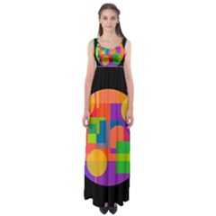 Colorful Circle  Empire Waist Maxi Dress by Valentinaart