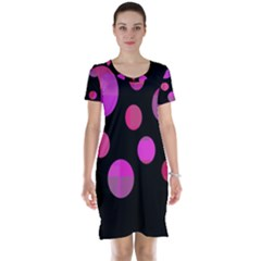 Pink abstraction Short Sleeve Nightdress by Valentinaart