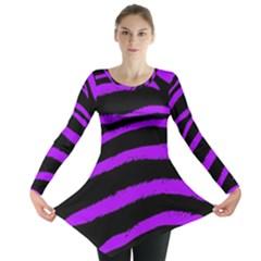 Purple Zebra Long Sleeve Tunic  by ArtistRoseanneJones