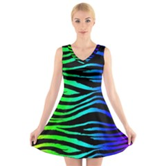 Rainbow Zebra V Neck Sleeveless Skater Dress by ArtistRoseanneJones