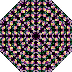 Rosa Yellow Roses Pattern On Black Folding Umbrellas by Costasonlineshop