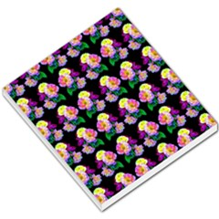 Rosa Yellow Roses Pattern On Black Small Memo Pads by Costasonlineshop