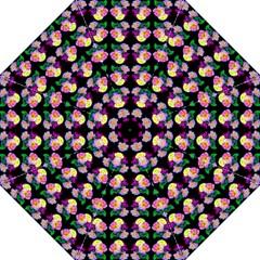 Rosa Yellow Roses Pattern On Black Hook Handle Umbrellas (medium) by Costasonlineshop