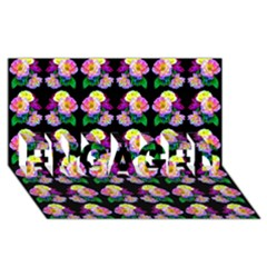 Rosa Yellow Roses Pattern On Black ENGAGED 3D Greeting Card (8x4)