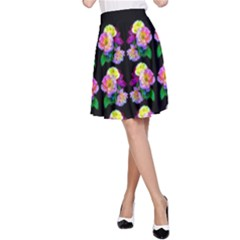 Rosa Yellow Roses Pattern On Black A Line Skirt by Costasonlineshop