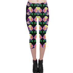 Rosa Yellow Roses Pattern On Black Capri Leggings  by Costasonlineshop