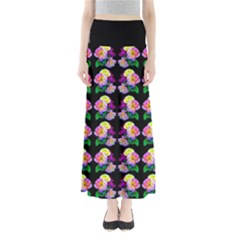 Rosa Yellow Roses Pattern On Black Maxi Skirts by Costasonlineshop