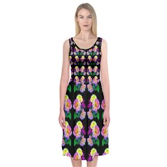 Rosa Yellow Roses Pattern On Black Midi Sleeveless Dress by Costasonlineshop